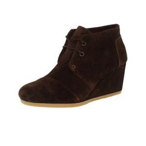 Tom's Desert Chocolate Brown Suede Wedges